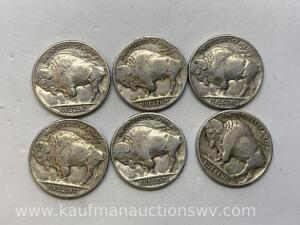 Six different dates buffalo nickels