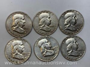 Six different dates Franklin halves