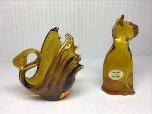 Amber glass cat and swan