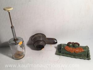 Glass chopper, metal strainer, frog butter dish