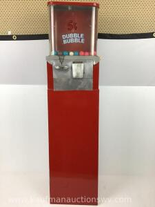 Double bubble five cent metal gumball machine