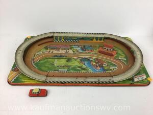 Tin toy racetrack and car