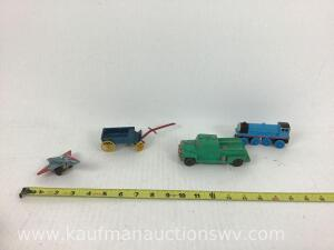 Friction toy airplane, metal horse buggy, train and rubber truck