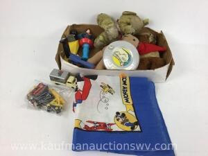 Mickey Mouse flag, Superman light, stuffed bears, Mickey Mouse figurine and more