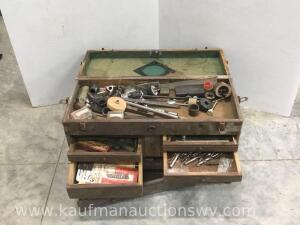 Wooden toolbox and tools