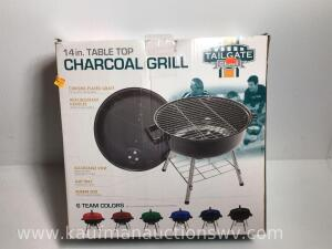 "14"" table top charcoal grill, new"