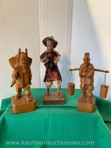 Papier-mche Figure & Carved Wooden Asian Figures