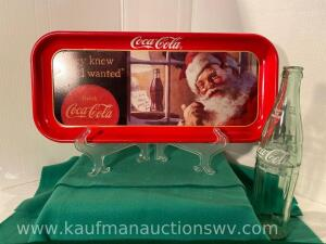 Santa Coca-Cola Tray with Stand & Coke Bottle
