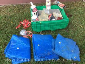 Tarps and tote with contents