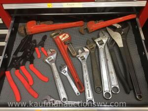Pipe wrenches, crescent wrenches, channel lock, hose pliers