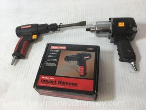 Pneumatic impact hammer and half-inch impact wrench