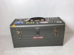 Metal toolbox and with combination wrenches, pliers, screwdrivers, hammer