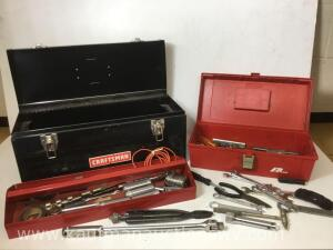 Metal toolbox with sockets, ratchet and other tools and Plano tackle box