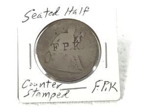 1877 Counter stamped FPK seated half