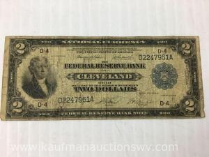 Two dollar national currency Cleveland Ohio 1918 bank note
