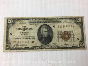 1929 federal reserve Chicago $20 bank note