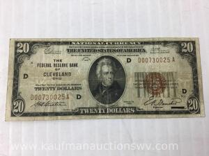 1929 national currency reserve bank Cleveland $20 bank note
