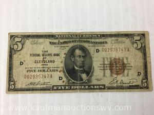 1929 National currency federal reserve bank Cleveland $5 bank note