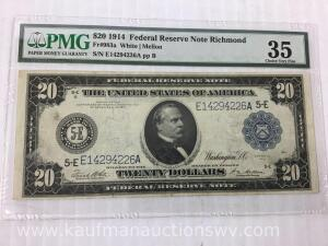 1914 federal reserve Richmond $20 bank note