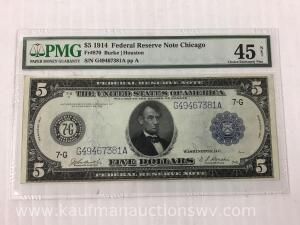 1914 federal reserve Chicago $5 bank note