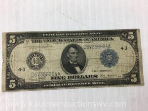1914 federal reserve Cleveland $5 note
