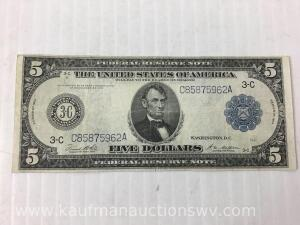 Federal reserve Philadelphia $5 note