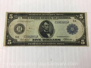1914 federal reserve Richmond $5 note