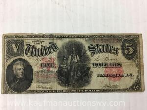 1907 wood chopper $5 red seal note