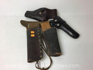 4 Leather hand gun holsters