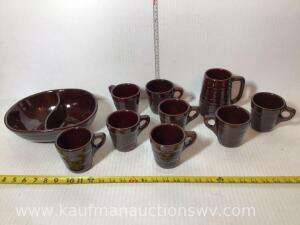 Marcrest stoneware two part dish, cups, and mugs