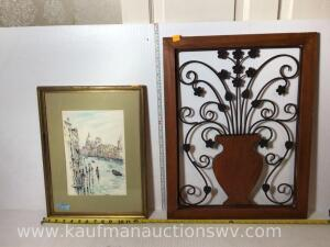 Watercolor picture and framed flower wall display