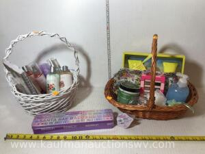 2 baskets with body lotions,