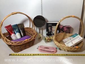 2 baskets with body wash, earrings, organizer, photo album, etc.