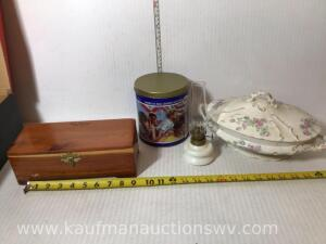 Cedar trunk chest, small lamp, national China dish, tin.