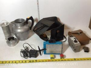 Super maid coffee/tea pot, vintage land camera, Bell Howell camera