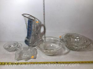 Bowls & West Virginia glass pitcher