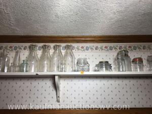 Pint Milk bottles tooth pick holder and glass canisters