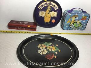 Handpainted serving tray, biscuit tray, Pall Mall tin, toy story lunch bucket