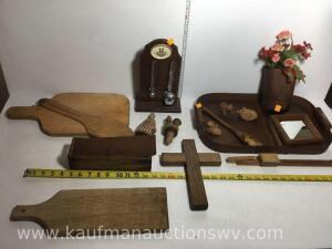 Wooden serving platter, cutting boards, cheese box, wooden carved pieces and more