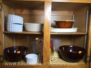 Hull drip glaze and other bowls, Glass pitcher, and more