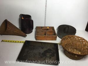 Cake pan, baskets, pitcher, wooden tool box