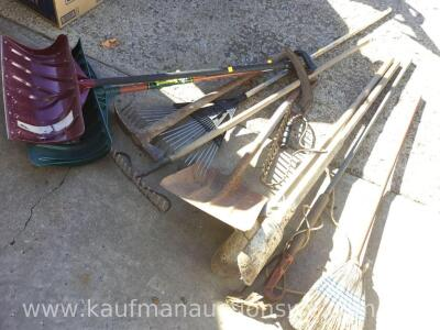 Snow shovels, rakes, post hole digger, extendable pruner