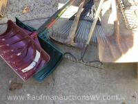 Snow shovels, rakes, post hole digger, extendable pruner - 3