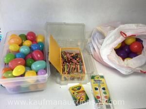 Crayons, Easter eggs, plastic balls