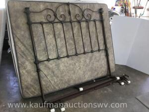 Queen size metal frame and headboard
