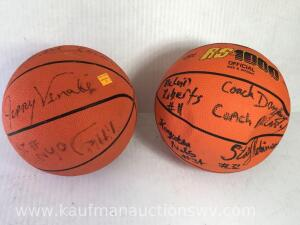 2 Autographed basketball's one includes Coach Carey