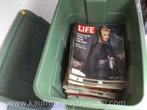 Tote with assortment of life magazines