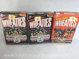 1992 and 1995 Pittsburgh Steelers Wheaties boxes