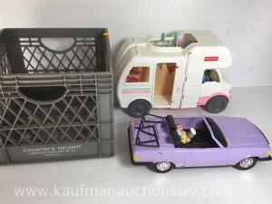 Fisher-Price toy camper and toy car
