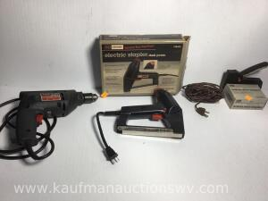 "3/8"" electric drill, electric stapler, stables, power cord"